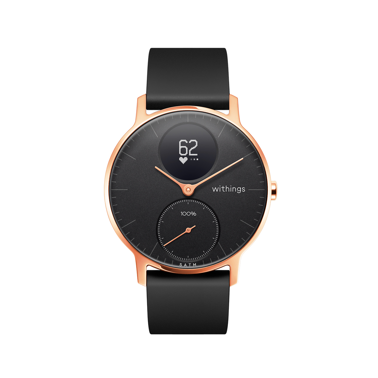 Withings Steel HR (Nokia), 36mm, Black & Rose Gold - Hybrid Smartwatch - Heart rate & Smartphone notifications - Withings Official Store